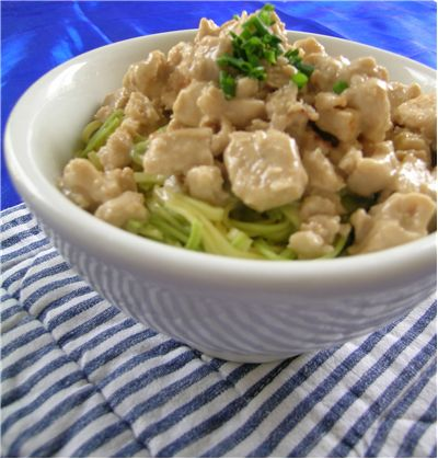 Green Pasta with Chicken in Creamy Sauce
