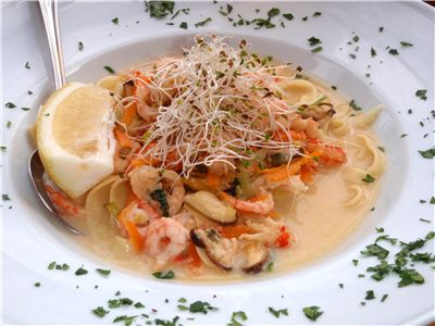 Tagliatelle with Mixed Seafood in Creamy Sauce